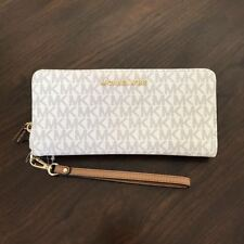 New Michael Kors Travel Continental Leather PVC Wallet Wristlet Various Color