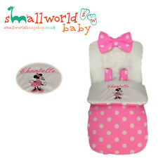 Personalised Pink Polka Dot Minnie Mouse Footmuff Cosytoes (NEXT DAY DISPATCH)