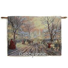 Thomas Kinkade Fiber-Optic Wall Tapestry Victorian Christmas Carol/Hometown Mem