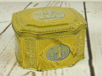 Vintage Horner Tin Box Cherub Pretty Lady Hearts Hinged Metal England Gold Blue