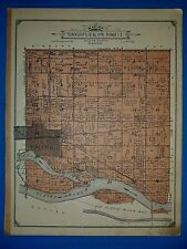 Vintage 1914 Plat Map ~ Twp # 16 & 17 - COLUMBUS - PLATTE Co NEBRASKA Authentic