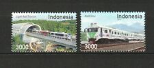 INDONESIA 2018 INDONESIAN TRAIN & RAILWAY TRANSPORT COMP. SET OF 2 STAMPS MINT