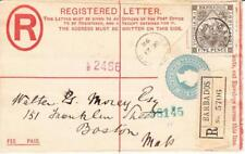 Barbados REGISTERED POSTAL ENVELOPE-HG:C9 uprated-SG#120(SCARCE)