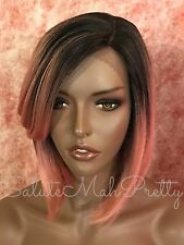 100% Human Hair Blend Deep Realistic Short Cut Bob Lace Front Wig