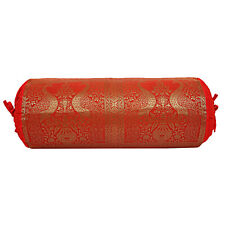 Indian Handmade Cushion Brocade Bolster Pillow Cover Throw Round Cylinder Case