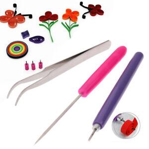 3PCs Tweezer Needles Slotted Pen Tool Kit Quilling Paper DIY Set Paper T^dm