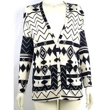 Nollie Womens Aztec Print Button Front Cardigan Sweater Size Small Black Cream