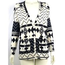 Nollie Womens Aztec Print Button Front Cardigan Sweater V-Neck Black Cream SMALL