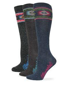 Wrangler Ladies Angora Blend Aztec Pattern Knee High Boot Socks 3 Pair