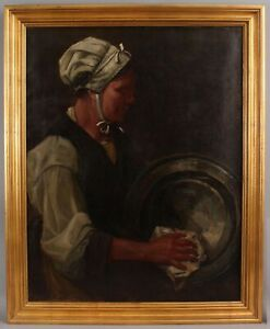 19thC Antique French Portrait Oil Painting, Woman Cleaning Pewter Charger Plate