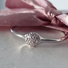 Authentic NEW Pandora 18k White Gold Love Pod ring 0.07ct diamonds 970105WD 56