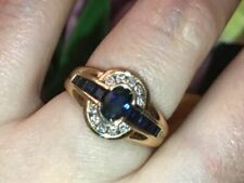 CARTIER 18K YELLOW GOLD SAPPHIRE & DIAMOND VINTAGE FRENCH COCKTAIL RING.RARE