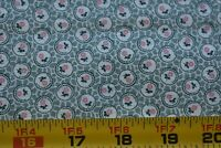 By 1/2 Yd, Vintage, Pink & Green Calico on Green & Cream Quilt Cotton, P242