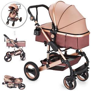 2 en 1 Cochecito de Bebé Plegable Carro de Paseo para Bebé Cesta Vista Alta