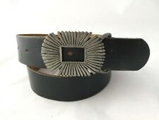 Men's Rugged Black Leather Belt with Billy Buckle Co Pewter Buckle size 30