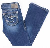 Silver Suki Surplus Bootcut Womens Jeans Flap Pockets Dark Wash Size 27/30