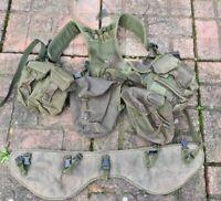 British Army Olive PLCE Webbing Yoke Belt Four Olive Pouches Grade 1