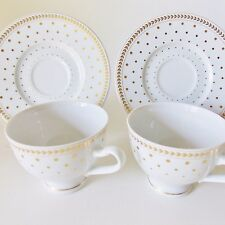 TWO LAURA BIAGIOTTI ITALIAN DESIGNER PAOLINA CUPS AND SAUCERS GOLD DOTS WHITE
