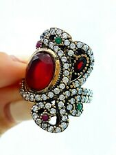 TURKISH OTTOMAN JEWELRY FROM GRAND BAZAAR ANTIQUE SILVER RING GIFT FOR MOM R1311