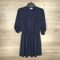 DR2 Daniel Rainn Women's Size Small Blouson Dress Navy Blue 3/4 Cuff Sleeve