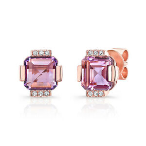 14k Rose Gold Octagon Amethyst Diamond Stud Square Earrings Natural 1.44 TCW