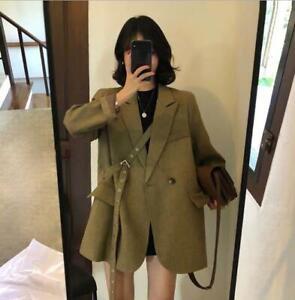 Women's Ladies Fashion Lapel Buckle Strap Loose Casual Blazer Coat Outwear SKGB