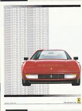 FERRARI 328 GTS & GTB SALES BROCHURE PROSPEKT OVERVIEW SPECIFICATION SHEET 1989