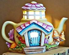 CERAMIC BISQUE COZY TEAPOT FAIRY COTTAGE 'POPPIES'~LIGHT INCL~READY TO PAINT