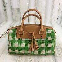 Dooney & Bourke Green Plaid Medium Domed Tassel Satchel Handbag Purse Spring