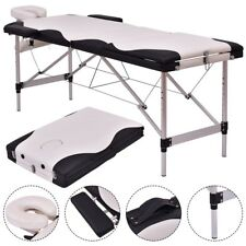 "72"" L Portable Massage Table Spa Beauty Bed Tattoo with Carry Case Black/White"