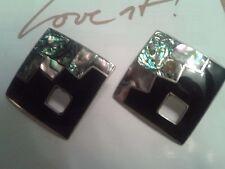 Wunderschöne handgefertigte Ohrringe, groß(4x4cm) schwarz u. Perlmutt, Unikat !