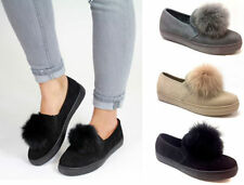 Patternless Trainers Faux Suede Flats for Women