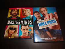 MASTERMNDS & HALL PASS-2 DVDs-Owen Wilson, Kristen Wiig,Zach Galifianakis-Comedy
