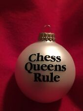 Handmade CHESS QUEENS RULE - Christmas Glass Ball Ornament Girl