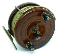 "QUALITY ANTIQUE VINTAGE 4"" MAHOGANY & BRASS STARBACK NOTTINGHAM CENTREPIN REEL"
