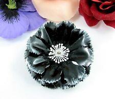 "WHITE Tipped BLACK Enamel FLOWER PIN Vintage Bloom Brooch Floral 2 1/8"" x 7/8"""