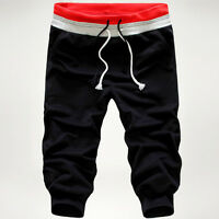 Summer Mens' Casual Gym Sports Jogging Cotton Shorts Trousers Knee Length Pants