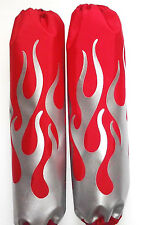 Shock Protector Covers Ski-Doo Bombadier BRP Silver Flames on Red Snowmobile