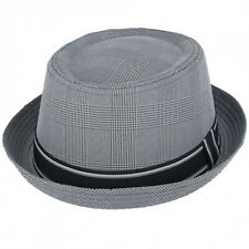 Unisex Pork Pie Light Grey Cotton Blend Trilby Hat With Stripey Band