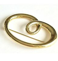 Vintage Monet Infinity Knot Brooch Pin Gold Tone