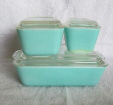 6 pc TURQUOISE Covered Refrigerator Dishes PYREX Robins Egg Aqua Blue SET