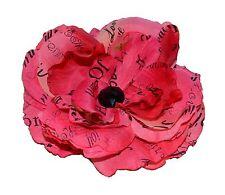 """OOAK Pink Rose 5"""" Silk Flower Hair Clip Black Crystal Laugh Love Home Handmade"""