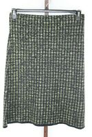 Kasper Womens Ladies Black Silver Print  Metallic Straight Skirt Size Large