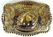 NEW HORSE HEAD GOLD SILVER HUGE RODEO BIG COWBOY WESTERN SHINE BELT BUCKLE