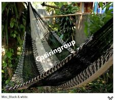 LARGE SLEEPING 2 Persons Cotton Lahu Hammock In/Outdoor Black - 100% Warranty!