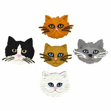 JESSE JAMES ~ DRESS IT UP BUTTONS - FUZZY FELINES 5800 CAT FACES ~ CRAFT~ SEWING