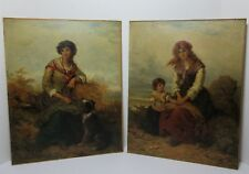 TWO FREDERICK GERALD KINNAIRD PAINTINGS SIGNED WOMEN DOG CHILD 19TH CT. ENGLISH
