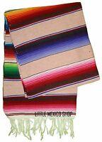SERAPE Mexican Blanket - MULTI PINK - SOUTHWESTERN 5' x 7' Falsa Serape Throw