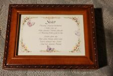"""New """"Sister"""" Wood Finish Jewelry Music Box - Plays """"That's What Friends Are For"""""""
