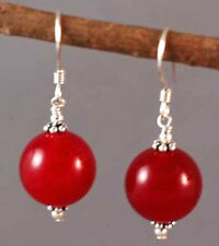 ON SALE New Fashion 10mm Red Jade Round Beads Silver Hook Earrings